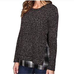 Sanctuary One N Done Gray Knit Plaid Sweater XL